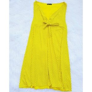 ZARA Yellow Polka Dot Tie Front Mini Dress